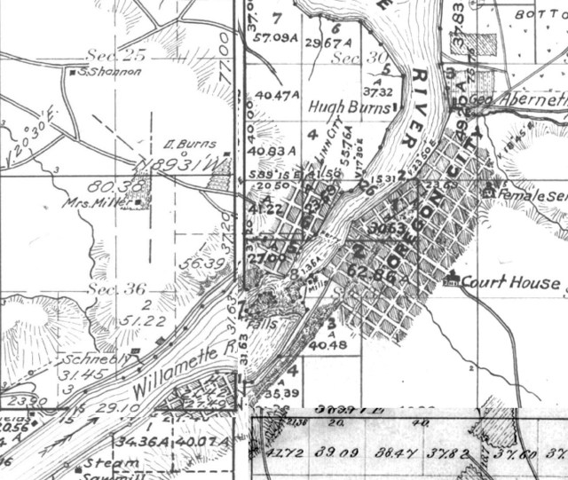 Oregon City, with Canemah to the southeast, from four GLO maps, circa 1856.