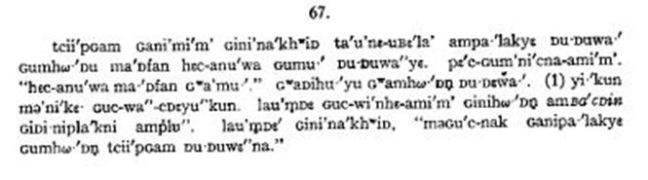 Narrative by John B. Hudson to Melville Jacobs, in Santiam Kalapuya language, c1935.