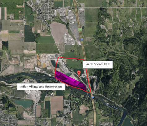 2016 Location of Historic Spores House and estimated location of Indian Village and Reservation