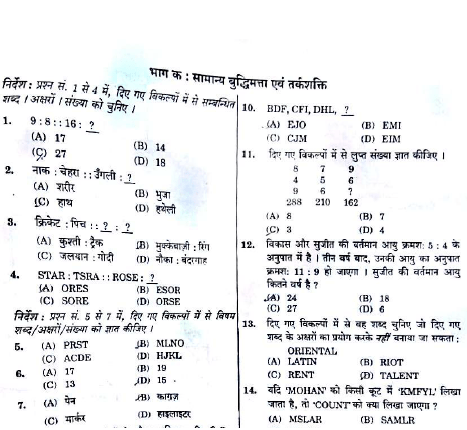 SSC MTS QUESTION OF 30-4-2017