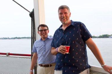 New seminarians John Mohn and Robert Johnson enjoy the jazz cruise!
