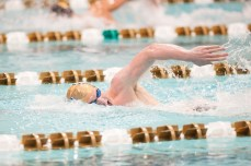 Senior Frank Dyer competes in the 500YD Free.