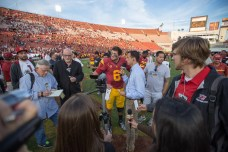 Trojans quarterback Cody Kessler speaks to the media after the game. Kevin Song   The Observer.