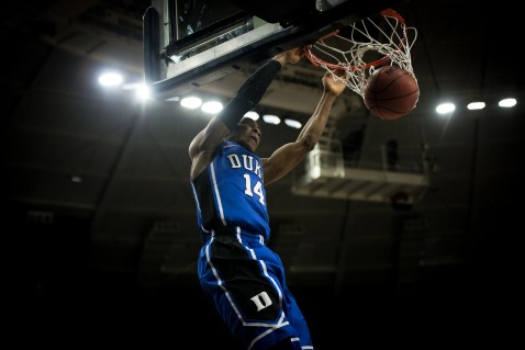 Duke junior guard Rasheed Sulaimon dunks during Notre Dame's 77-73 win over the fourth-ranked Blue Devils on Wednesday. Michael Yu | The Observer