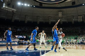 Senior guard Jerian Grant drives down the court for a shot. Michael Yu | The Observer