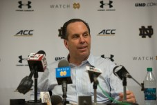 Irish coach Mike Brey responds to media questions following the team's 77-73 victory over Duke. Michael Yu | The Observer