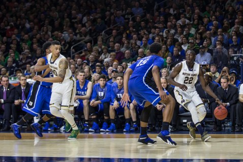 Irish senior guard Jerian Grant takes the ball to the basket during Notre Dame's 77-73 win over Duke on Wednesday at Purcell Pavilion. Grant finished with 23 points and a career-high 12 assists. Jodi Lo | The Observer