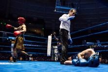 "Alex ""El Cadejo"" Alcantara (gold) celebrates his 135-pound final victory over Patrick ""il Lupo"" Brennan. Michael Yu   The Observer"