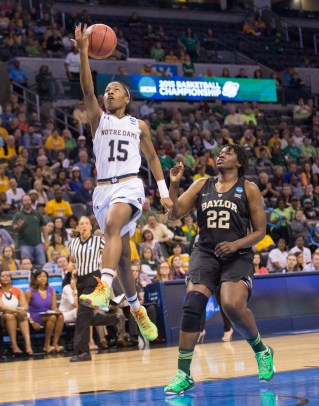 Irish sophomore guard Lindsay Allen collects two of her 23 points with a layup in a 77-68 win over Baylor.