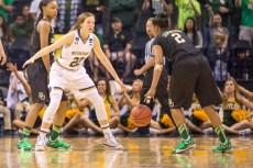Irish senior guard Madison Cable defends Baylor junior guard Niya Johnson during the Notre Dame win Sunday.