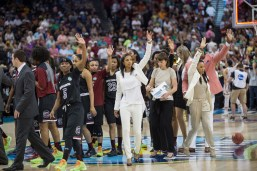 South Carolina players and coaches wave goodbye following their 66-65 loss to Notre Dame on Sunday night.