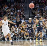 Irish junior guard Jewell Loyd pursues a loose ball during Tuesday's 63-53 loss to Connecticut in the NCAA championship game.