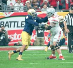 Senior defensive lineman Romeo Okwara battles an offensive lineman during Notre Dame's Fiesta Bowl loss to Ohio State on Friday in Glendale, Arizona.