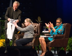 U.S. Supreme Court Justice Ruth Bader Ginsburg visited Notre Dame for a conversation, moderated by U.S. Circuit Judge Ann Williams, a Notre Dame alumna, at Purcell Pavilion.