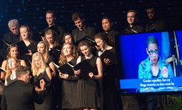 """After her conversation with U.S. Supreme Court Justice Ruth Bader Ginsburg, U.S. Circuit Judge Ann Williams, Saint Mary's and Notre Dame choir sang parody of La Habanera"""" from Bizet's """"Carmen."""""""