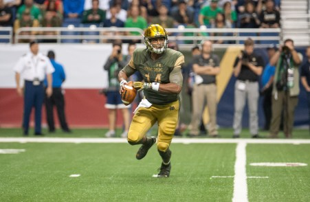 DeShone Kizer rolls out of the pocket in Notre Dame's 44-6 victory over Army.