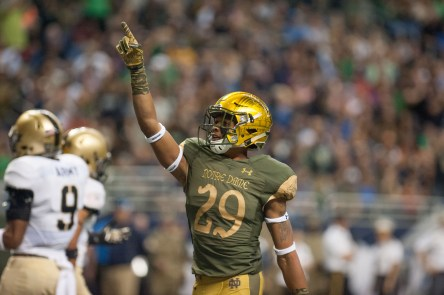 Kevin Stepherson celebrates after his touchdown catch versus Army.