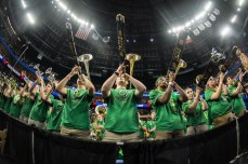 The Notre Dame Band performs the Alma Mater after the team's loss to West Virginia.