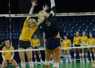 Irish blow 2-0 lead, fall to Cards in five sets