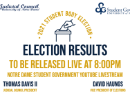 Student body election results to be announced during 8 p.m. broadcast