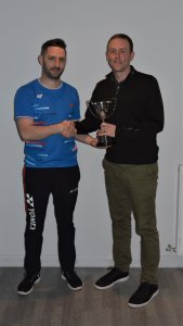 League Chair, Steven Chappell presenting the Men's Division 1 trophy to Nicol Webster from Westhill