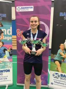 Lindsey Ireland U17 Girls Singles, Girls Doubles and Mixed Doubles Junior Scottish National Champion