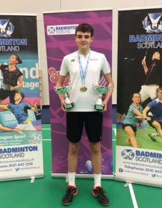 Nathan McPherson U17 Boys Doubles and Mixed Doubles Junior Scottish National Champion