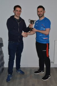 League Fixtures Secretary, Jamie King presenting the Men's Division 3 trophy to Steven Chappell on behalf of ABA B