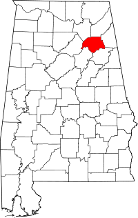 Map of Alabama highlighting Etowah County.