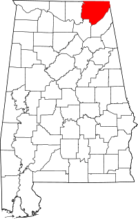 Map of Alabama highlighting Jackson County.