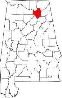 Map of Alabama highlighting Marshall County.