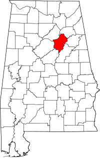 Map of Alabama highlighting St. Clair County.
