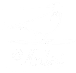 logo of a raven perched on a fountain pen with at-sign Neaksai written underneath