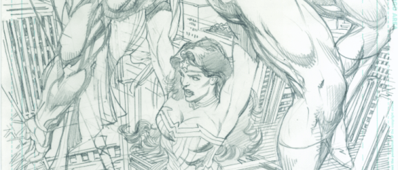 "Neal Adams' variant cover pencils to ""Superman/ Wonder Woman #26."""