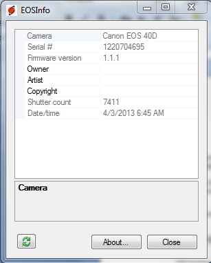 My Canon EOS 40D Shutter Count from EOSInfo