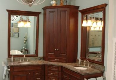 Corner Bathroom Vanity Double Sinks