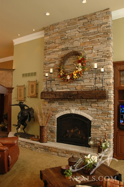 Great Room FloortoCeiling Stone Fireplace  Withamsville OH