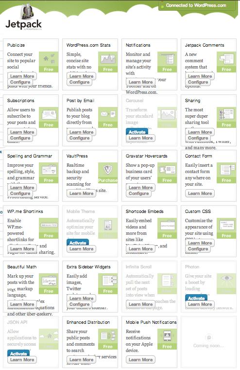 JetPack WordPress plugin features