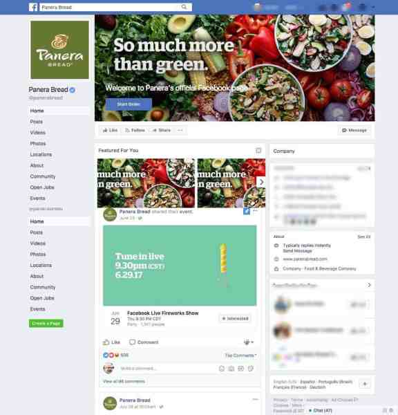 Panera Bread Facebook