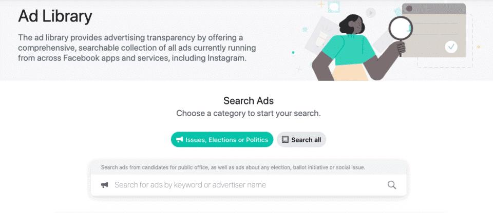 Facebook's official ads libraru