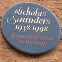 Nicholas Saunder's plaque in Neal's Yard