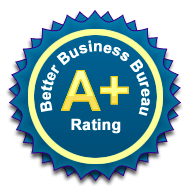 illustrated logo of Better Business Bureau A+ Rating