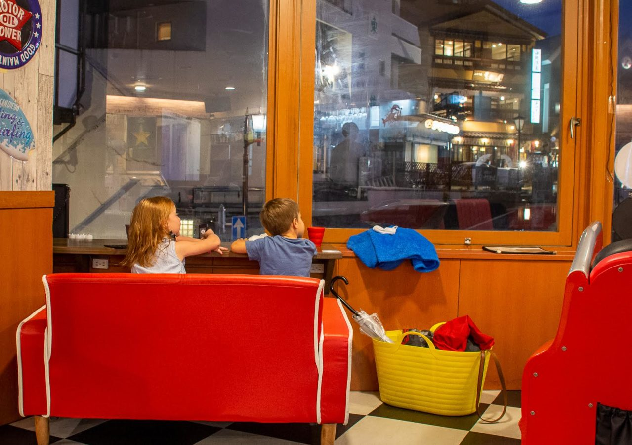 A view of children enjoying dinner and the view at Silverback Grill and Beer near Tokyo (Kusatsu city travel guide)
