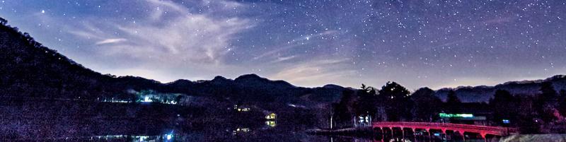 Beautiful night sky at Mount Akagi (Lake Onuma)