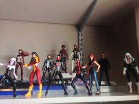 Spider-ladies: Spider-gwen, Spider-woman, Silk, May Parker, Mary Jane, Arana, JJJ, Ultimate Spider-woman, Spider-B@@@h, Julia Carpenter.