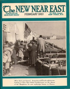 New Near East magazine cover featuring orphans at Near East Relief headquarters in Constantinople boarding a barge bound for Greece after the burning of Smyrna.