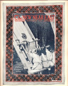 New Near East magazine cover featuring girls weaving on a loom