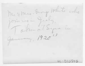 Handwriting on the back of the photo of Mr & Mrs. George White.