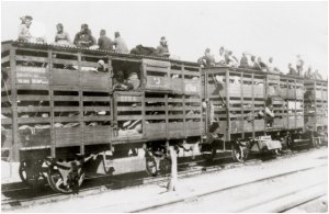 A photo of Armenians on a train seeking refuge at somewhere safe.