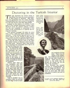An article mention Bessie Murdoch who was a nurse settled down at the Turkish borders to serve refugees in that area.